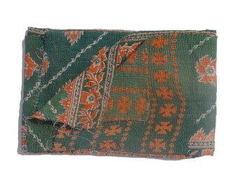 Handmade  Reversible Kantha Quilt  Kantha Handmade Throw Cotton Thread Stich Kantha Sari Quilt