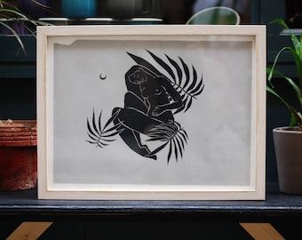 Original Drawing, Woman Drawing, Black and White Drawing, Nature Drawing