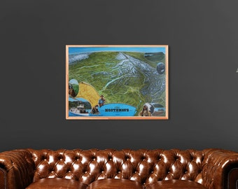 Historic Kootenays map print, signed by cartographer. High quality art print, perfect wall art for home or office.