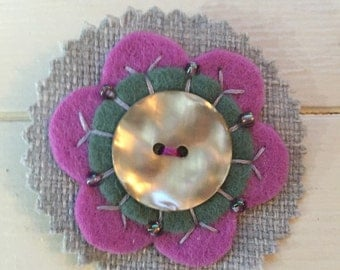 Spring time mother of pearl flower brooch