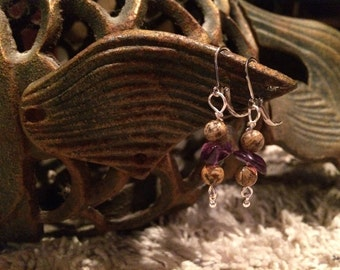 Jasper and Amethyst earrings