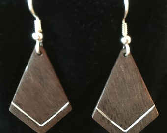 BLACK WALNUT earrings with inlaid sterling silver