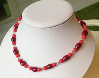 Necklace with Burgundy and orange beads