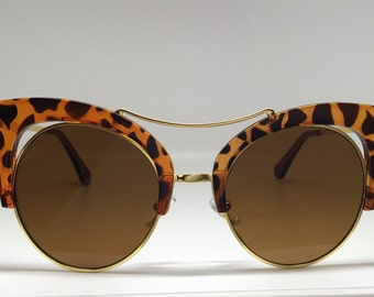 Leopard Print Cut Out Sunglasses
