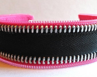 Pink & Black Zipper Bracelet Cuff with silver toggle clasp, cuff bracelet, black metal and pink plastic zipper bracelet, gift for her