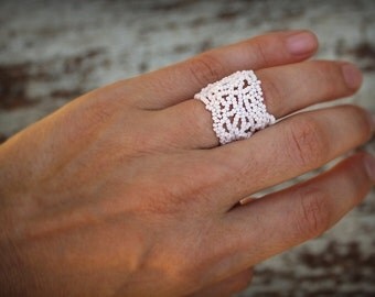 White ring Unusual beaded ring Delicate ring Beaded lace ring Wide filigree ring White boho ring Wide band ring Unusual boho jewelry
