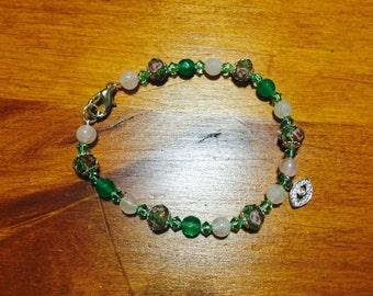 Rose Quartz - Swarovski crystal and Jade bracelet