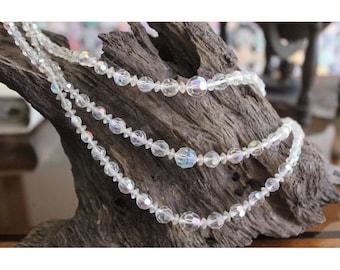 Vintage Faceted Aurora Borealis Crystal Multi strand  Necklace