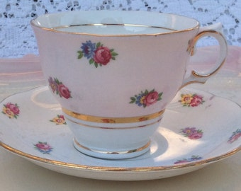 Pretty Pink Addiction-Pink and White Colclough Teacup and Saucer