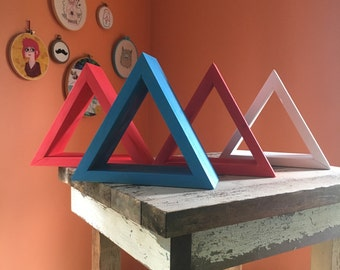 Handcrafted triangle shelves - red, white and blue - patriotic decor