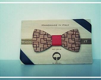 Wood-IT papillon in legno di ciliegio inciso al laser MOD: Square