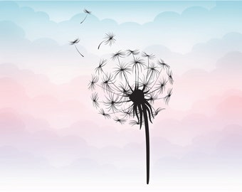 Wildflower dandelion silhouette in vector format, Dandelion SVG file for crafting cutting machines, Wild flower silhouette, nature vector