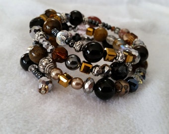 One-of-a-kind Memory Wire Beaded Bracelet
