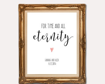 For time and all eternity, Personalised LDS Wedding Print, LDS Wedding Gift, Printable Anniversary Gift, customised wedding gift,