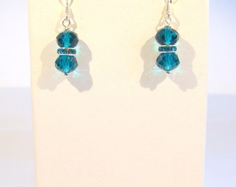 Teal Crystal Bridesmaid Earrings, Bridal Jewelry, Wedding Earrings