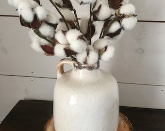 Cotton Arrangement, cotton, farmhouse decor, rustic decor, table arrangement, small arrangement, home decor, gift, cotton stems, pottery