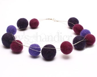 Felt Beads Necklace * Felt Jewellery * Felted Necklace * Pink-Purple-Violet