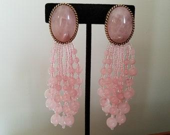 Pink Chandelier Clip On Earring