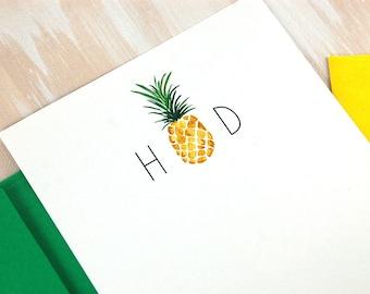 Personalized Monogram Stationery of 12, Pineapple Stationary Set, Aloha Hawaii Wedding, Simply Southern Hospitality, Housewarming Gift