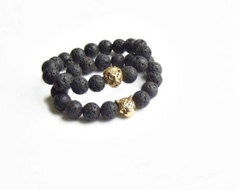 Couples bracelet, His and her bracelet, black lava beaded gemstone bracelet, Lion tiger puma bracelet, Gold silver stretch bracelet