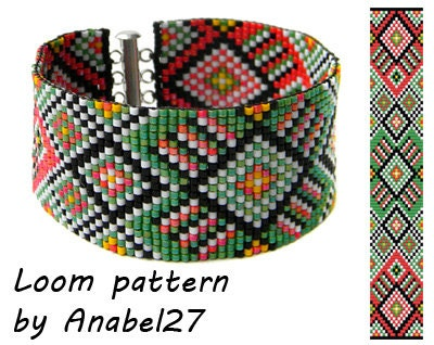 bead loom pattern square stitch pattern ethnic bracelet