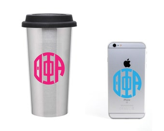 Theta Phi Alpha Monogramm Circle decal vinyl window bumper Sorority greek letters laptop sticker  available in 30 different colors