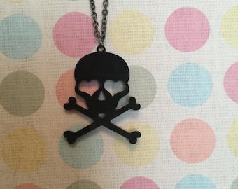 Black Skull and Crossbones Necklace