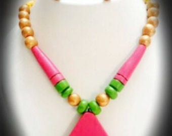 Pink terracotta necklace and matching earrings