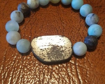 Silver and Blue Beaded Bracelet