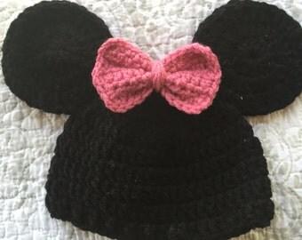 Mickey or Minnie Inspired Crochet Beanie