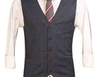 Men's Waistcoat in Grey Prince Wales Check