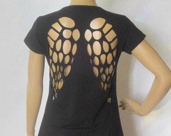Black back tshirt clipped wings