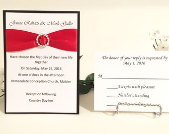 Elegant Black, White & Red Invitation Set With Round Ribbon Buckles For Wedding/Birthdays/Holidays
