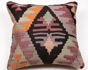Vintage 15'' Handmade Kilim Pillow - Bohemian Cushion 2686