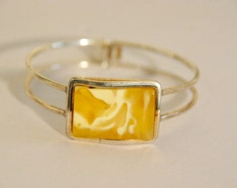 Baltic Amber Cuff Bracelet set in 925 silver- Yellow Amber