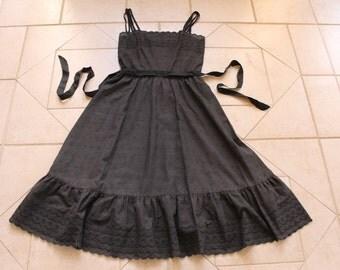 Vintage KAPPI Black Eyelet Dress       Sz 10