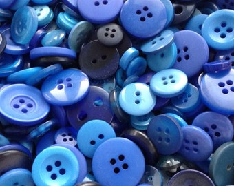 Mixed Blue buttons, assorted sizes FREE postage