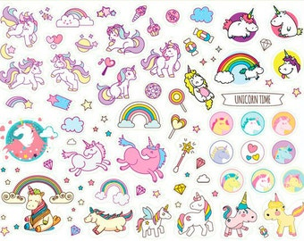 Stickers with unicorn Size a4