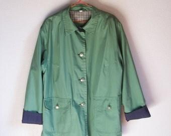 VINTAGE Cute Preppy Green Balmacaan Jacket / Overcoat Retro - Size L