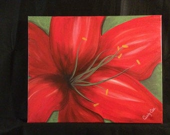 Up Close Red Flower 16x20 acrylic painting on canvas
