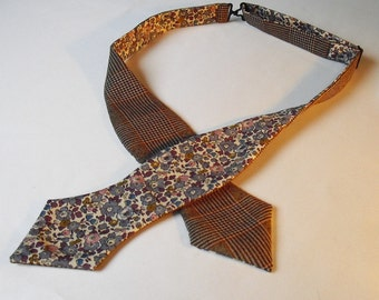 Scottish Wool Check/Tweed self tie bow tie with Liberty Tana Lawn lining