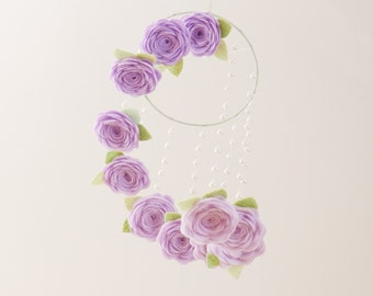 Girl Nursery Decor Crib Mobile Baby Mobile Flower Mobile Nursery Mobile Baby Mobiles Hanging Felt Mobile Floral Mobile Purple Roses Lavender
