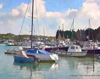 Brading Harbour,  Wall Art, Fine Art Print, Digital Art, Giclee, Photography, Living Room Art, Wall Decor, Coastal Art, Landscape Art, Boats