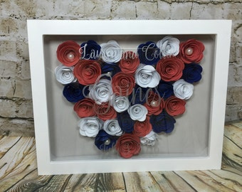 8x10 Shadow box with hand rolled roses