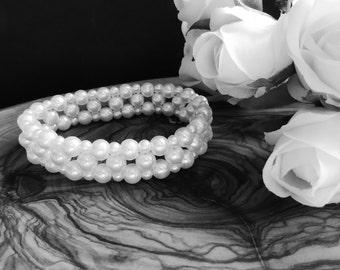 Corsage Bracelet, Juliet, pearl, wedding, prom
