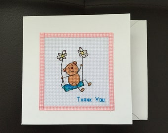 Thank You Teddy Bear Completed Cross Stitch Card