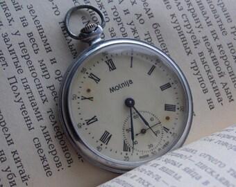Vintage pocket watch USSR. Soviet watch. Men's pocket watch. Molnija. Roman dial.