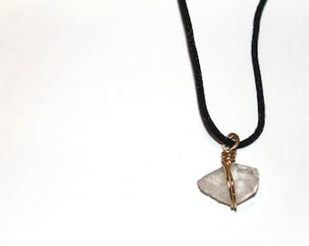 Clear Quartz Black Cord Necklace
