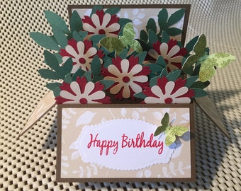 Handmade Birthday card ,Flowers in a box