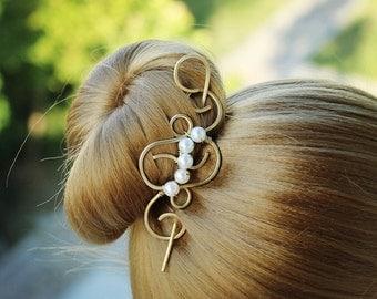 Gold Hair Slide with Pearls, Metal Shawl Pin, Hammered Brass Hair Clip Hair Pin Hair Stick, Hair Ornaments, Hair Accessories, Women Gift